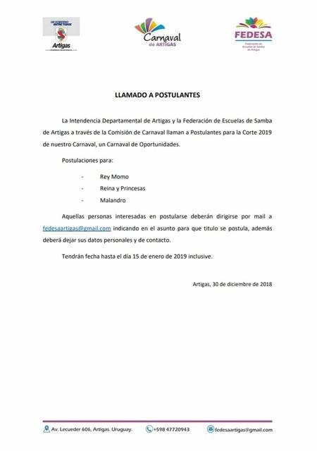 Elección de la Reina del Carnaval de Artigas 2019